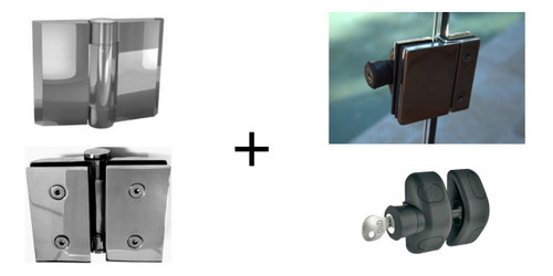 Premium Soft Close Glass Pool Gate Hinges with a Lockable Latch