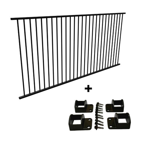 Panel + Fittings Package Deal - 2.4m Pool Fence Panel PLUS Fittings Set - Black Aluminium. - 2.45m (*or 2.4m) x 1.2m high.
