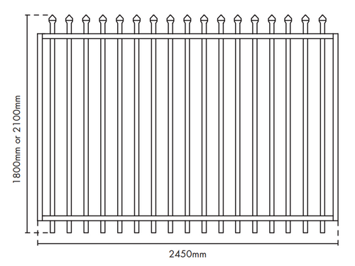 2.1m high x 2.45m wide Security Gate, Powder Coated Black.