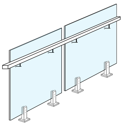 Glass Systems/Glass Balustrading/Glass Balustrade Panel for side fixed stainless steel handrail