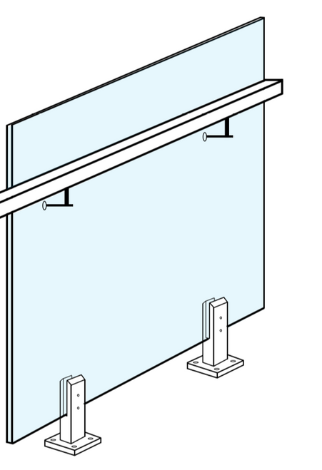 550 W x 970mm High Balustrade Glass With Two Handrail Holes