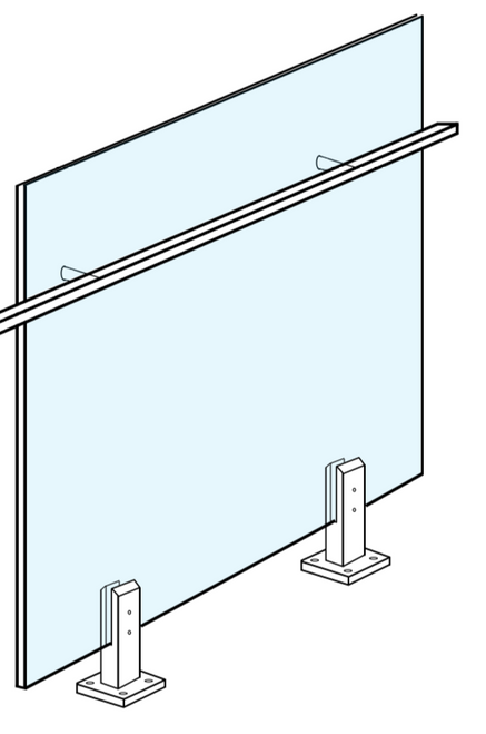 Glass Systems/Glass Balustrading/Glass Balustrade Panel to suit 50mm x 10mm Handrail