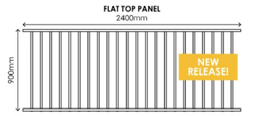900mm x 2.4m wide Black Aluminium Fence Panel