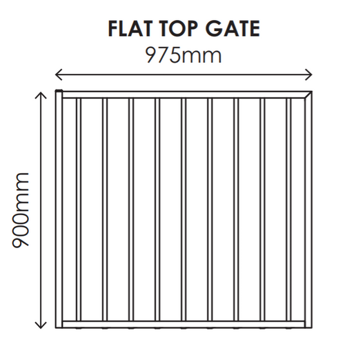 900mm high x 975mm wide Gate, Aluminium Flat Top Design, Powder Coated Black.