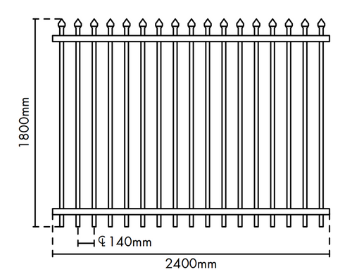1.8m high Aluminium Security Fence Panel, Powder Coated Black.