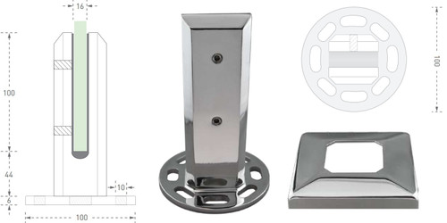 2205 Stainless Steel, Frameless Glass Pool Fencing Spigot - Multi-Fix Base with 8 holes to bolt down.