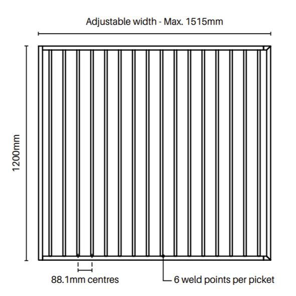 Extra Wide Single Gate - 1470mm wide x 1.2m high - Tech Info
