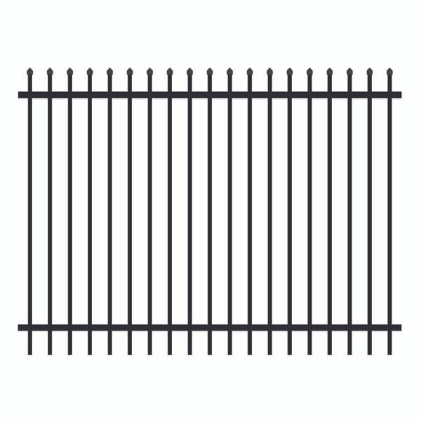1.8m high x 2.4m Aluminium Crimped Top Security Fence Panel, Powder Coated Black