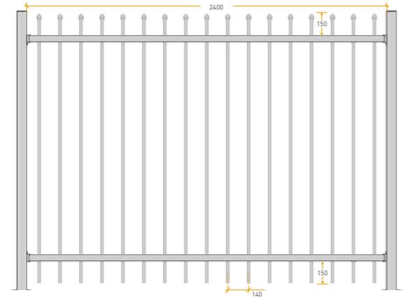 2.1m high x 2.4m Aluminium Crimped Top Security Fence Panel, Powder Coated Black