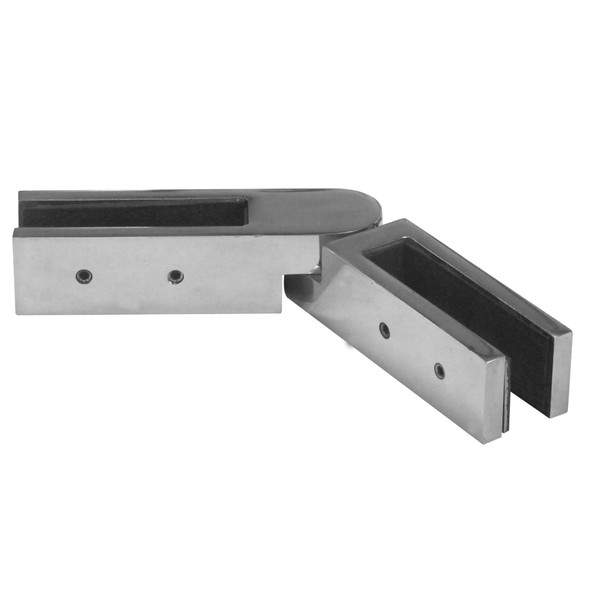 Premium Inline Glass to Glass Joiner Polished Stainless Steel Finish