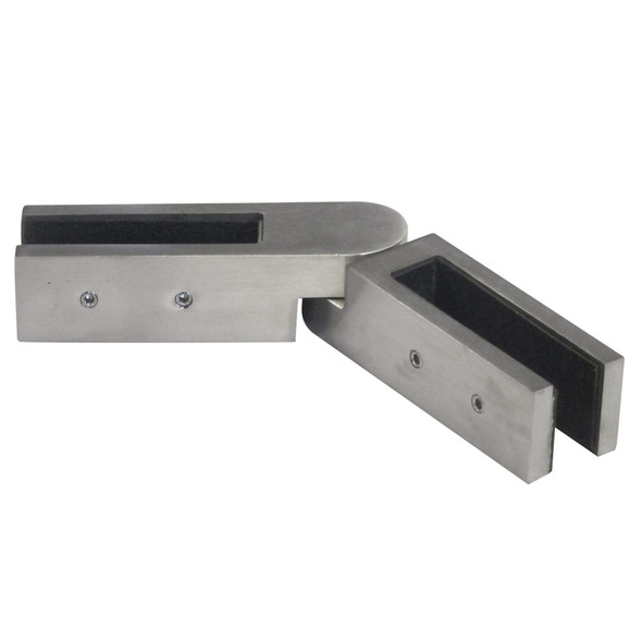 Premium Inline Glass to Glass Joiner Satin Stainless Steel Finish