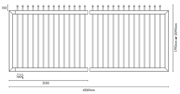 Steel Security Sliding Gate Kit - 4260mm Wide - 1790 or 2090mm High Tech Info