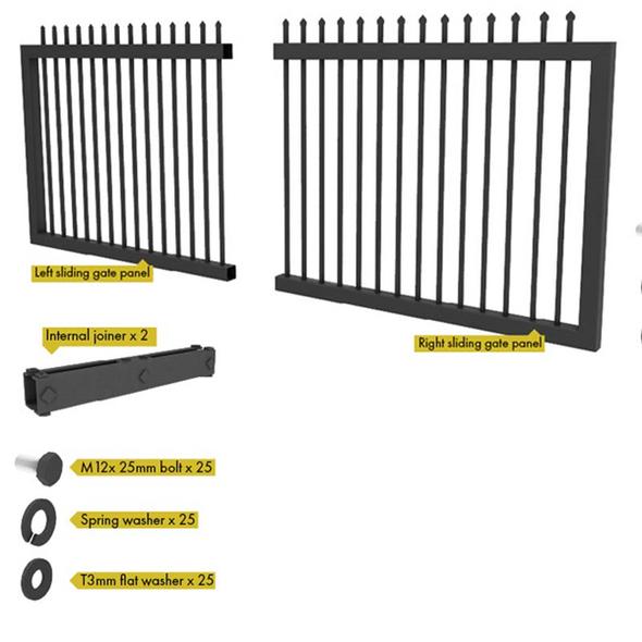 Steel Security Sliding Gate Kit - 4260mm Wide - 1790 or 2090mm High