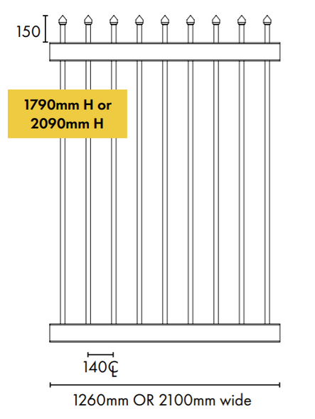 Sliding Gate Extension Piece -  2100mm Wide - Adds 2100mm to gate width Tech Info