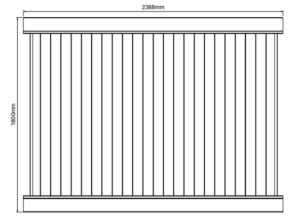 Full Privacy Fence Panel - 2388mm W x 1800mm H - info