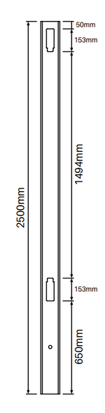 90 Degree Post for Full Privacy Fence - 2500mm long - 127x127mm wide - 3.8mm Wall Thickness - Comes With Tapered Cap - Info