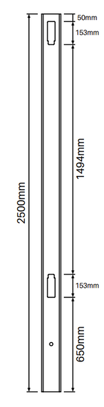 Heavy Duty Gate Post for Full Privacy Fence - 2500mm long - 127x127mm wide - 3.8mm Wall Thickness - Comes With Tapered Cap - Info