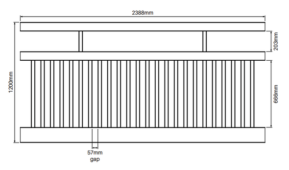 Semi Privacy Fence Panel - 2388mm W x 1200mm H - Info