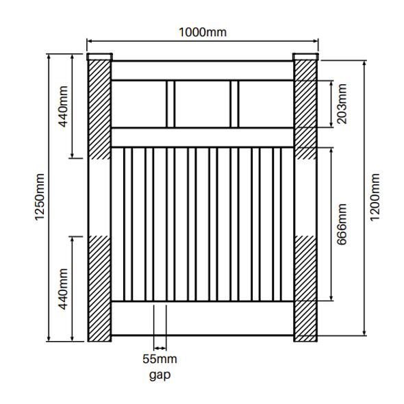 Semi Privacy Gate - 1000mm W x 1200mm H - Info