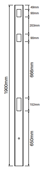 2 Way Post for Semi Privacy Fence - 1900mm long - 102x102mm wide - 3.8mm Wall Thickness - Info