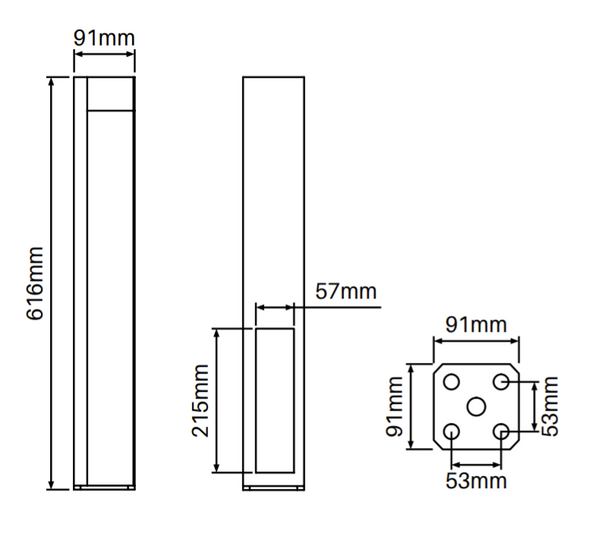 Concealed Heavy Duty Base Plate for Semi Privacy Posts - 616mm long - Info