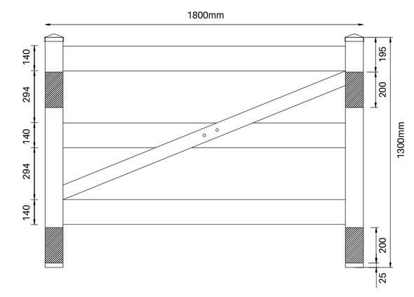 3 Rail Gate - 1300mm high x 1800mm wide - Info