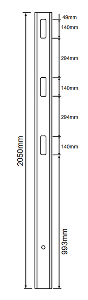 2 Way Post for 3 Rail Fencing - 2050mm long - 127x127mm wide - 3.8mm Wall Thickness - Comes With Tapered Cap - Info