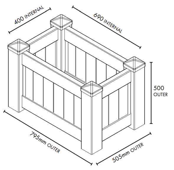 Small White PVC Planter Box - 795mm long x 505mm wide - 500mm high - Info