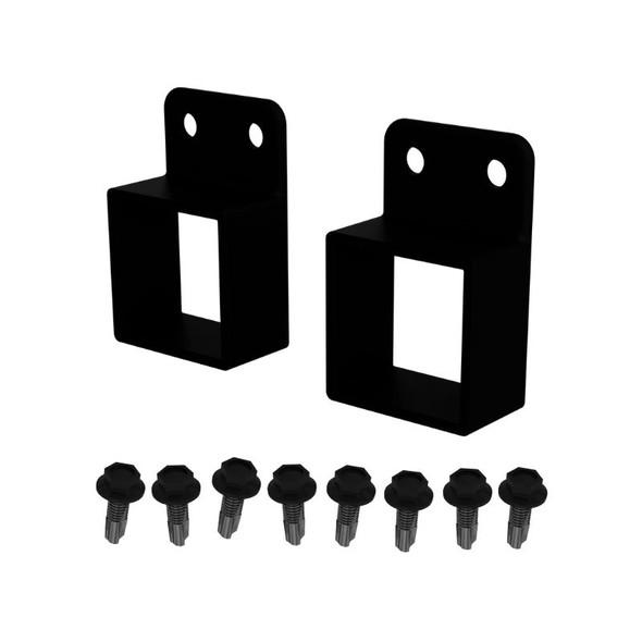 Aluminium Horizontal Brackets for Rail - Pack of 2 (Includes 8 screws) - Black