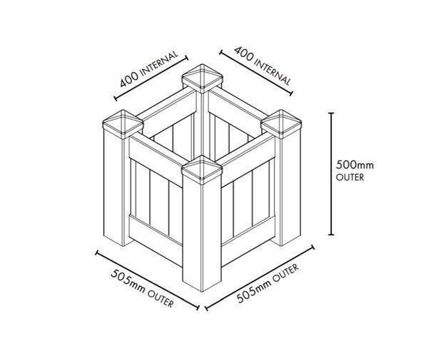 Square White PVC Planter Box - 505mm long x 505mm wide - 500mm high