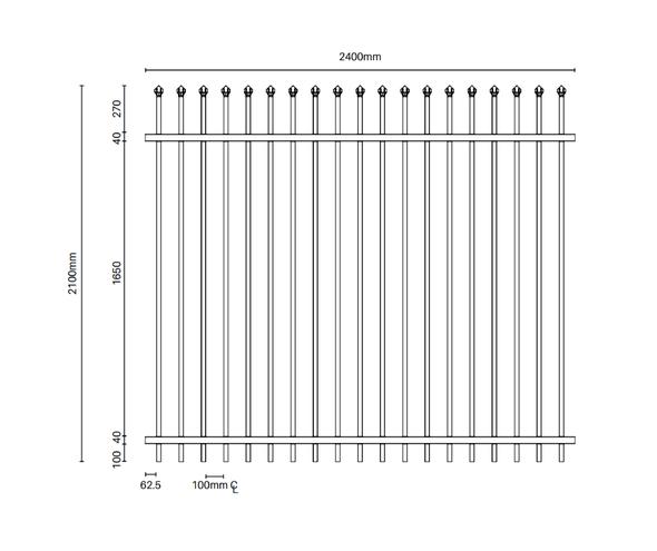 Very Heavy Duty DETE Steel Security Panel - 2.1m high x 2.4m - Powder Coated Black - Info