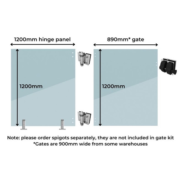 Standard Gate Kit - 1200mm wide gate hinge/support panel + 900mm* wide gate (Covers 2.1m approx.)