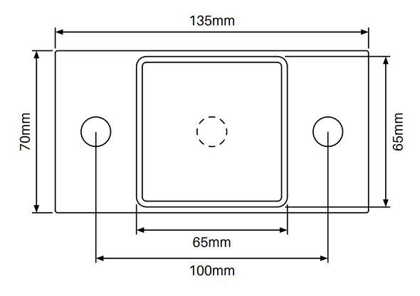 8mm thick welded Base Plate Details for 2.4m long security fence posts. Base plate has 2 x 13mm holes. (Plus extra hole in centre for drainage). Base plate is  135mm long x 65mm wide. Note: base plate can be buried for inground posts and acts as an anchor flange.