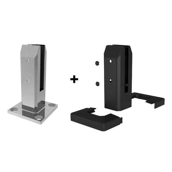 Insulated Stainless Steel Pool Fence Spigot (Base Plated or Core Drill) - Black, White or Grey - NO EARTHING REQUIRED!