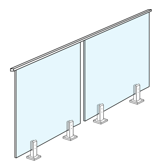 12mm Glass Panel for Balustrade with top rail