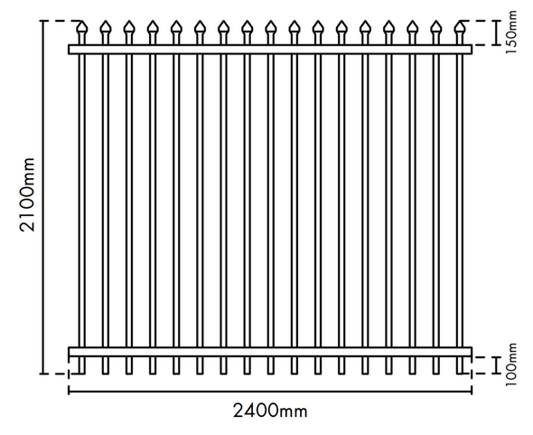 Drawing of Fence Guru Spear top security fence panel - 2.1m high x 2.4m wide.