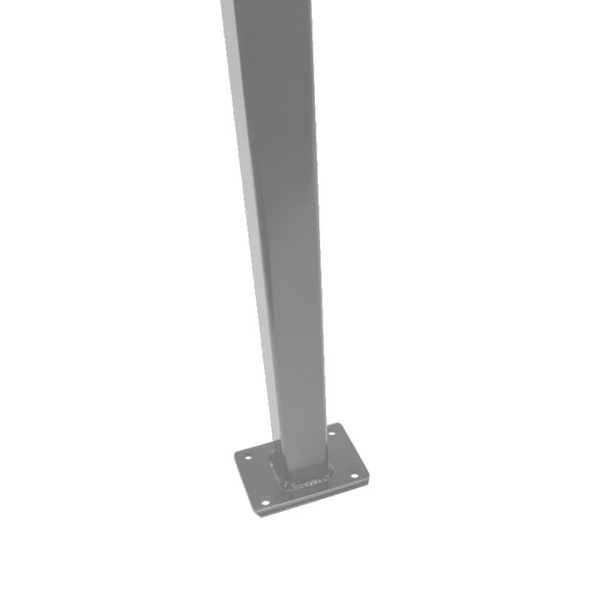 Flanged Fence Post with cap 1.3m - to bolt down - Silver