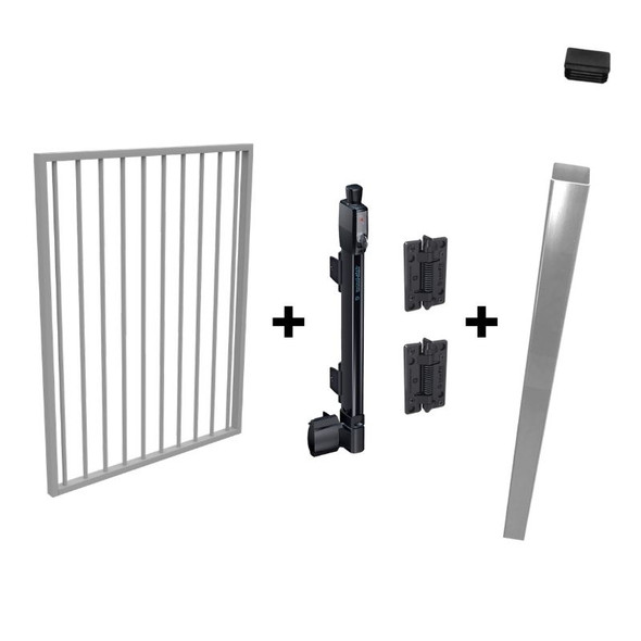 Pool Safe Gate Kit - with latch post (2.1m) to concrete inground - Silver