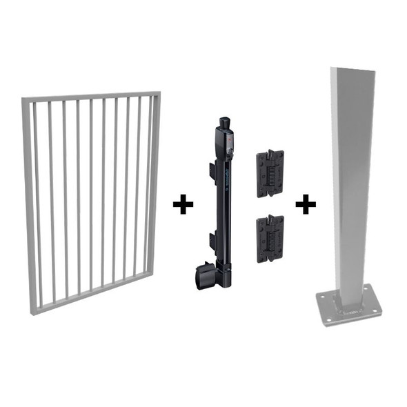 Pool Safe Gate Kit - with flanged latch post (1.6m) to bolt down - Silver