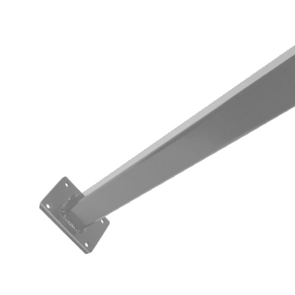 Extra Long Flanged Fence Post (used also as pool gate latch post) with cap 1.6m - to bolt down - Silver