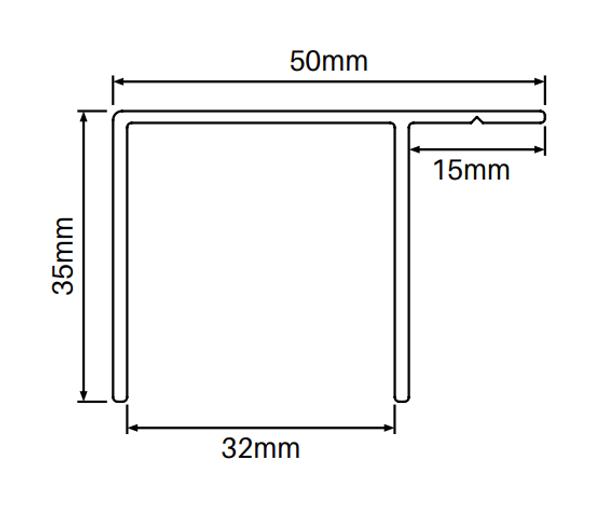 Aluminium Wood Grain F-Channel - 50 x 35mm - 5800mm long - Info