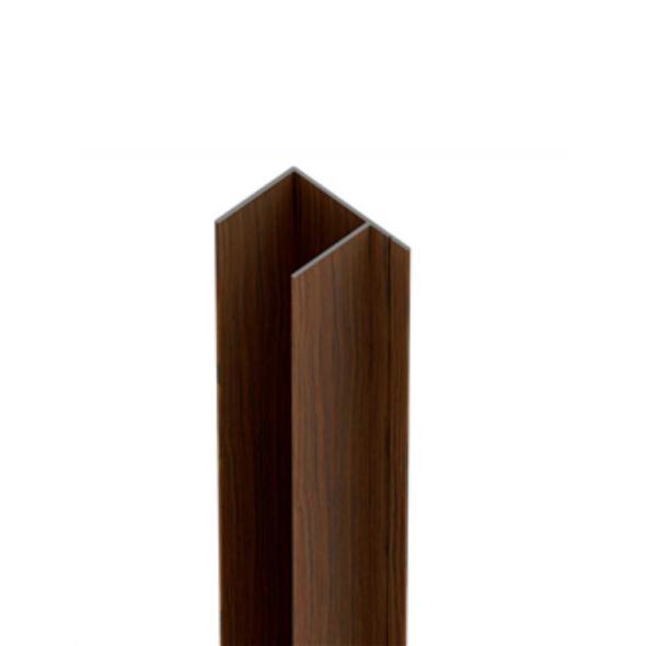 Aluminium Wood Grain F-Channel - 50 x 35mm - 5800mm long - Kwila