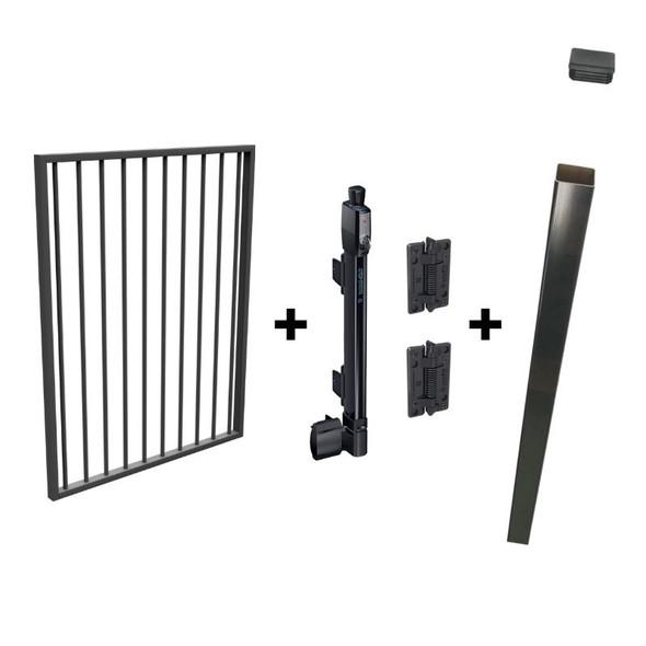 Pool Safe Gate Kit - with latch post (2.1m) to concrete inground - Woodland Grey