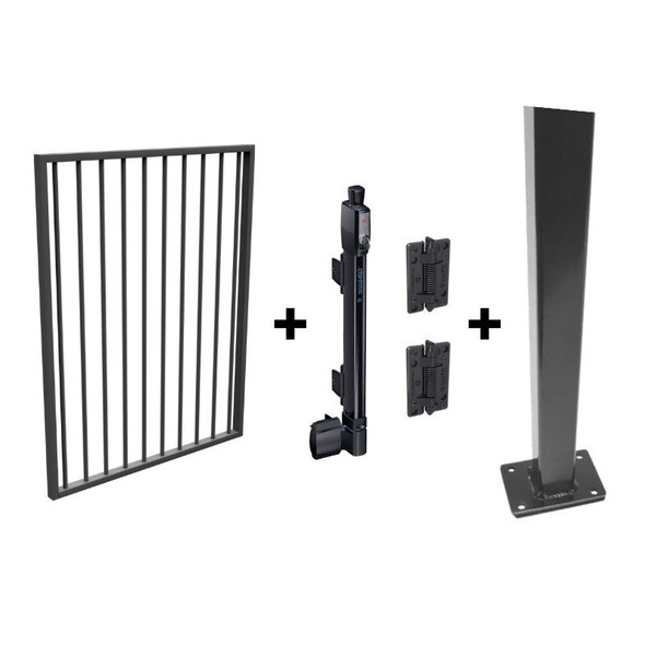 Pool Safe Gate Kit - with flanged latch post (1.6m) to bolt down - Woodland Grey