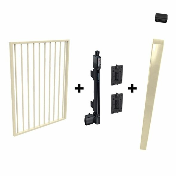 Pool Safe Gate Kit - with latch post (2.1m) to concrete inground - Primrose Cream