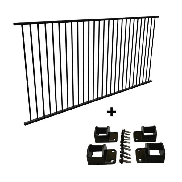 Panel + Fittings Package Deal - 2.4m Pool Fence Panel PLUS Fittings Set - Black Aluminium. - 2.45m (*or 2.4m) x 1.2m high.
