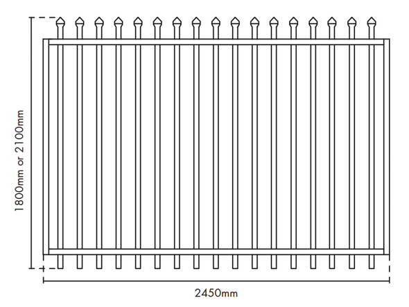 Extra Wide Security Gate - 2.45m wide x 1.8m high. Galvanized Steel Powdercoated Black construction.