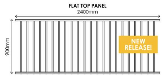 900mm x 2.4m wide Black Aluminium Fence Panel