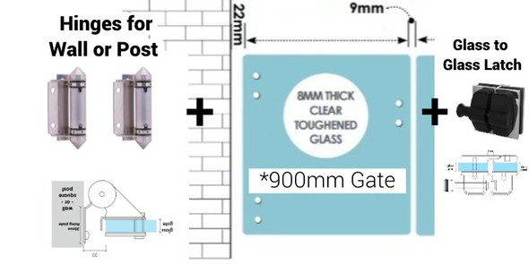 Frameless Glass Gate Kit to suit fitment to wall or post.