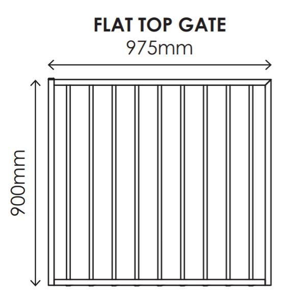 900mm high x 975mm wide Gate, Aluminium Flat Top Design, Powder Coated Black.